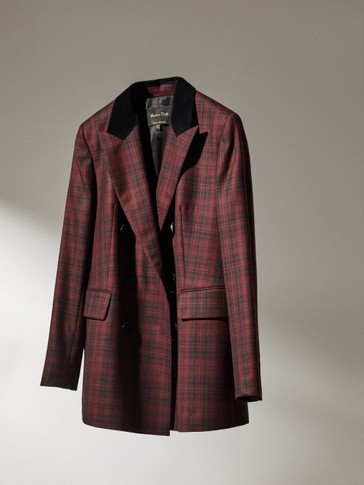 Double-breasted wool check blazer