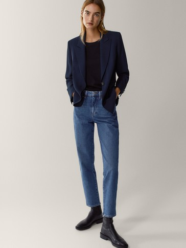 Single-button crepe blazer