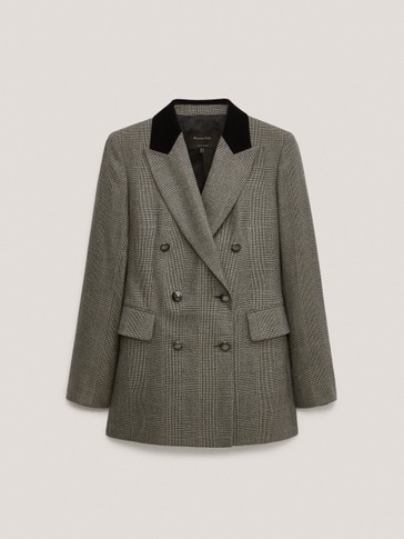 Check wool blazer with velvet collar