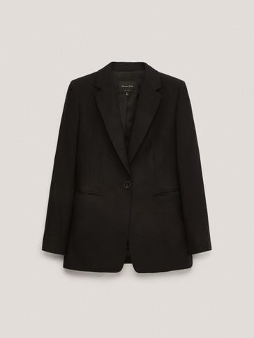 Crni sako od vunenog flanela na kopčanje