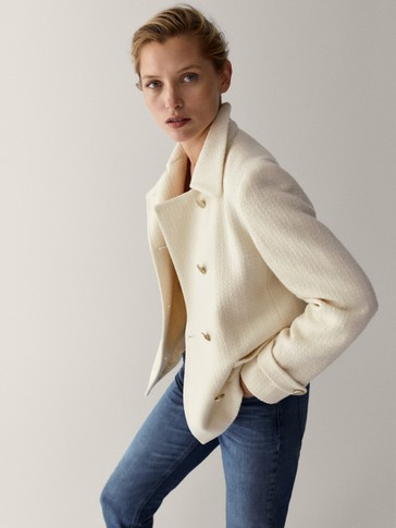 Cropped wool jacket with button-down front