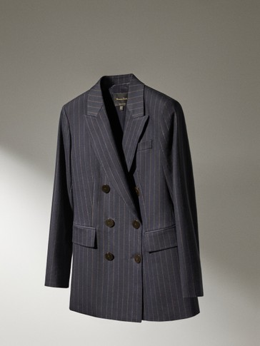 Pinstripe blazer made of cotton and wool