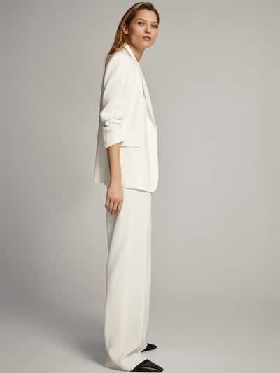 마시모두띠 Massimo Dutti Crepe single-button blazer,WHITE