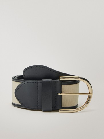 Contrast cotton and leather belt
