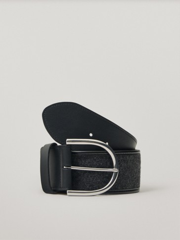 Wool and leather contrast belt