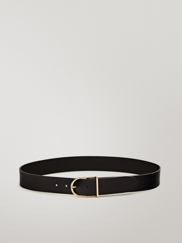 Double-buckle black leather belt