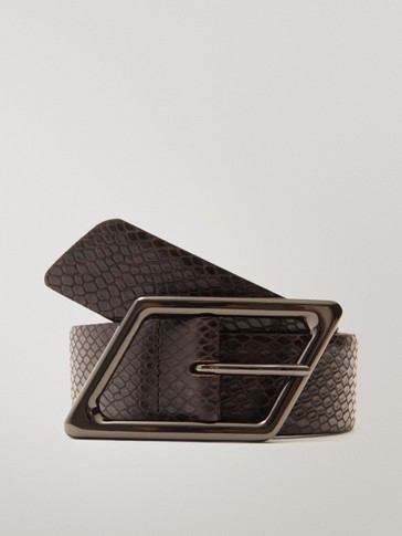 Snakeskin-effect leather belt