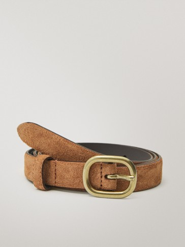 Split suede belt with oval buckle