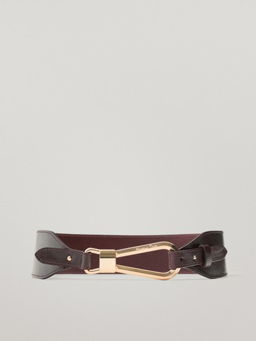 Calfskin leather belt with lobster clasp