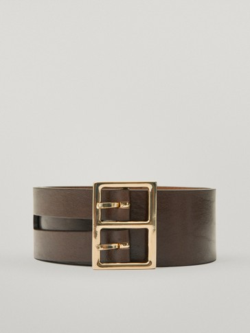 Calfskin leather double-buckle belt