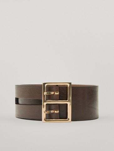 Calfskin leather double-buckle belt