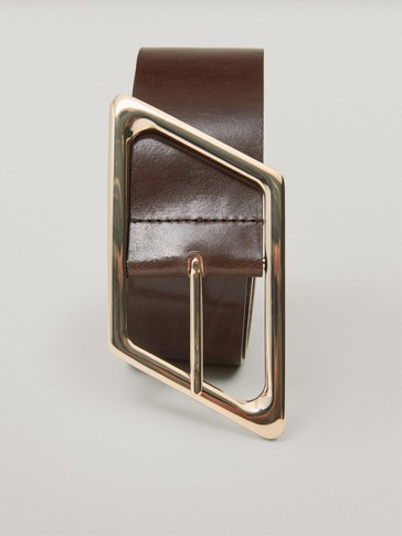 Limited Edition leather belt with rhombus buckle