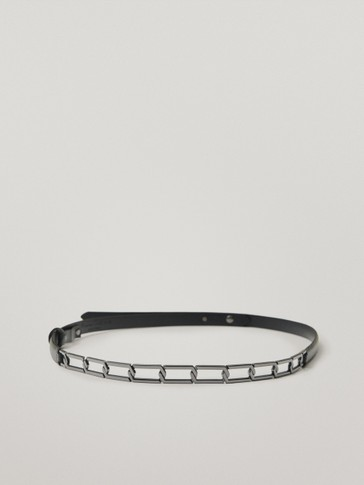 Nappa leather belt with chain