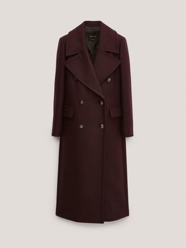 Manteau long en laine avec boutons