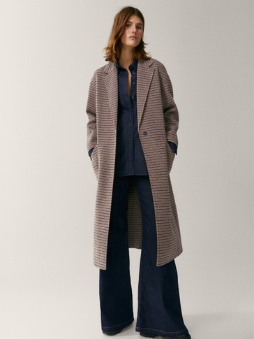 Handcrafted checked wool coat