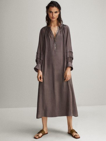 Balloon sleeve linen and silk dress