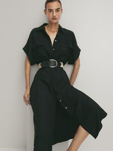 Crna haljina s džepovima