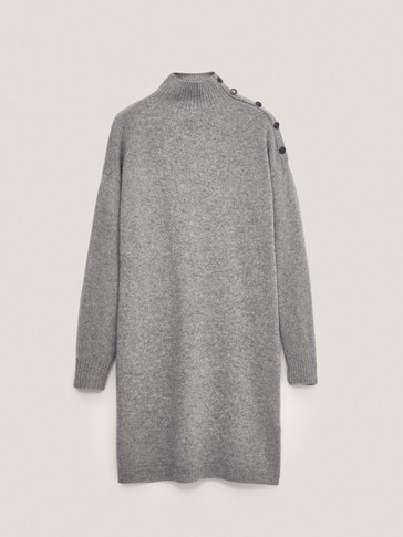 Cashmere wool dress with shoulder buttons