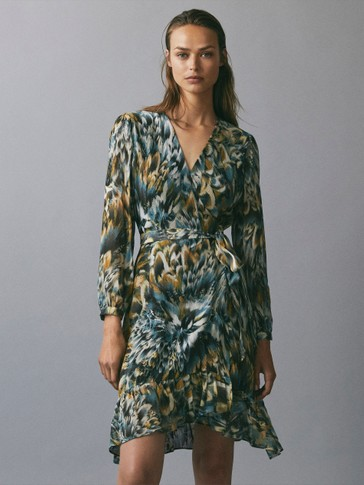 Printed dress with ruffle detail