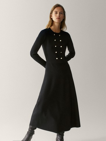 Black knit double-breasted dress