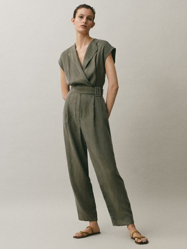 Cupro jumpsuit with belt