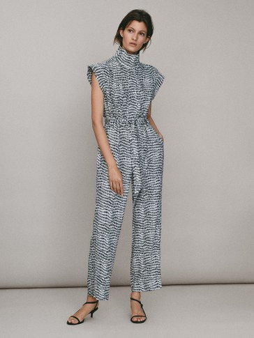 Two-tone seed print jumpsuit