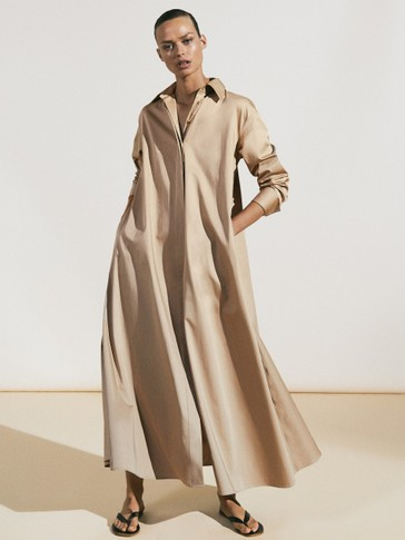 Vestido camisero popelín oversize