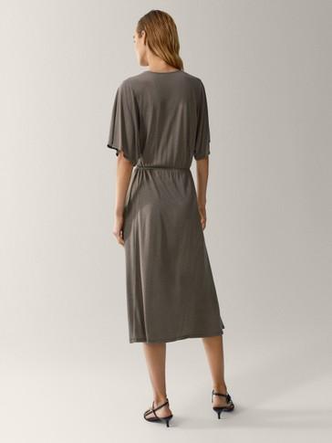 100% lyocell batwing sleeve dress