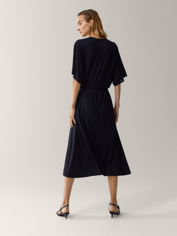 100% lyocell batwing sleeve dress