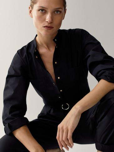 Black poplin jumpsuit