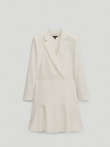 Blazer dress with ruffled hem