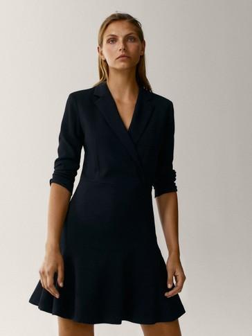 Blazer dress with ruffled hem