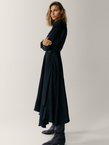 Flowing dress with asymmetric hem