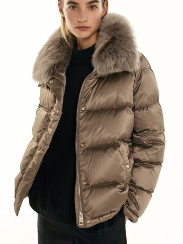 Quilted down jacket with lambskin