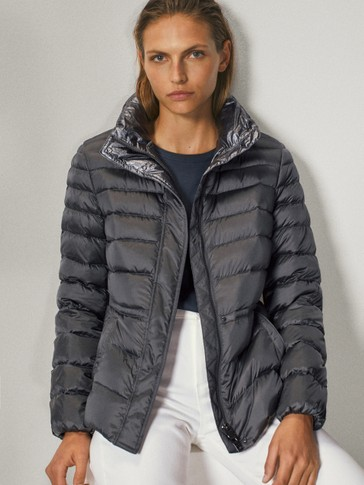 Tailored laminated down jacket
