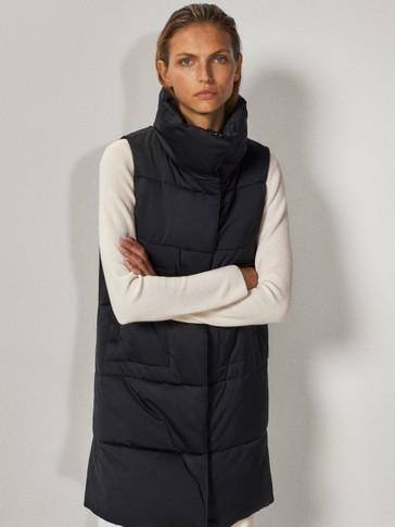 Black longline puffer waistcoat