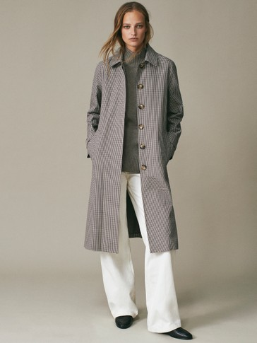 Check cotton trench coat