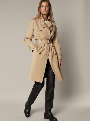 CLASSIC TRENCH COAT WITH HOUNDSTOOTH LINING