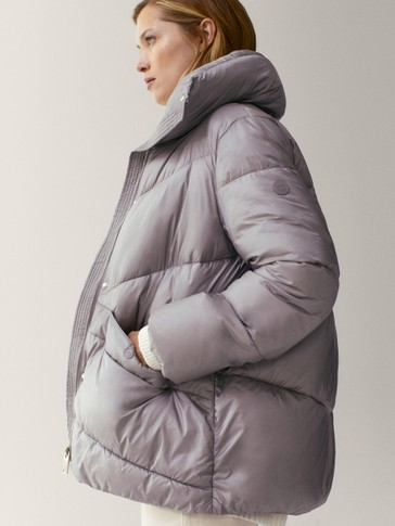Oversize puffer jacket with topstitching