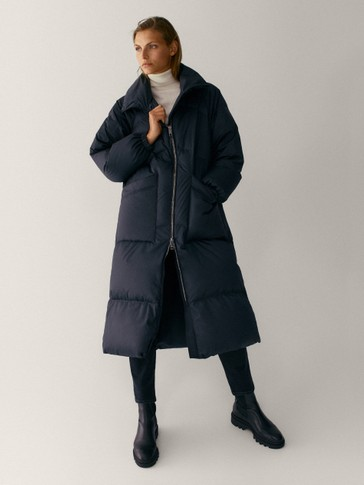 Long down jacket with topstitching