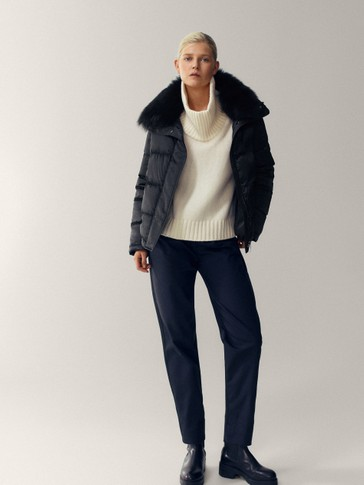 Cropped down jacket with lambskin collar