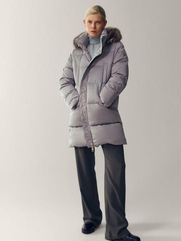Prošivena pernata jakna s kapuljačom