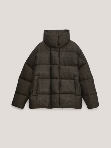 Check oversize down puffer jacket