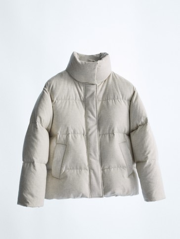 Short melange down jacket