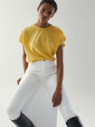 Cotton T-shirt with shoulder pleats