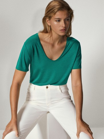 Scoop neck 100% lyocell t-shirt