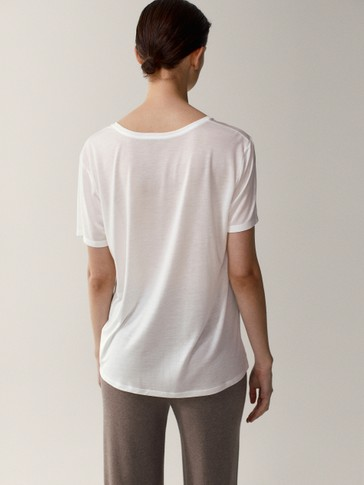 100% lyocell scoop neck T-shirt