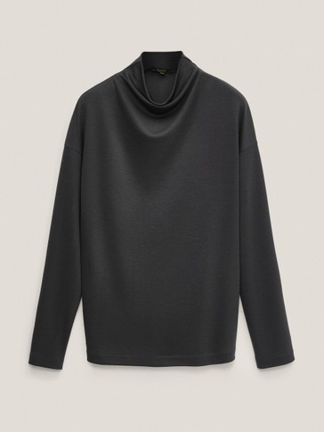 Draped lyocell sweatshirt