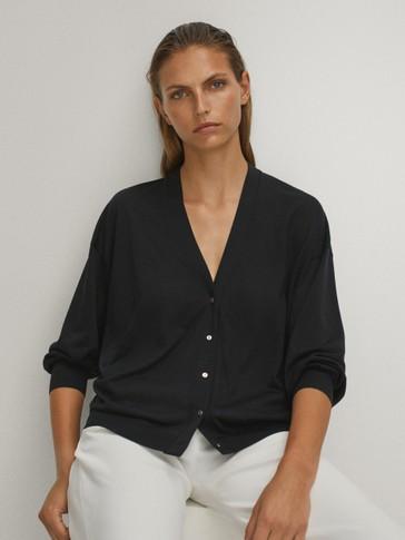 V-neck lyocell cotton cardigan
