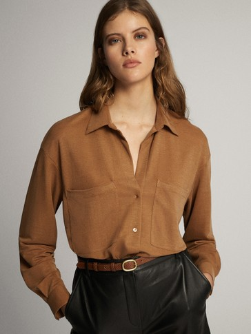 Maxi pocket loose-fitting shirt